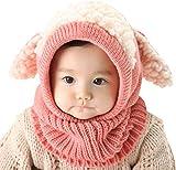 UMIPUBO Bambini Scialle Cappello Autunno Berretti Inverno Maglia Sciarpa Cappelli Protezione del Bambino Orecchie Carine Cappello (Rosa Scialle)