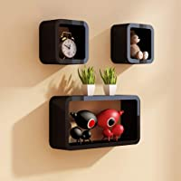 Shine Wood Art Wall Cube Shelves Set of 3 Wooden Cube in Black