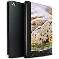 STUFF4 PU Pelle Custodia/Cover/Caso Libro per Apple iPad Mini 1/2/3 tablet / Stollen/Torta di Frutta / Cibo di Natale disegno