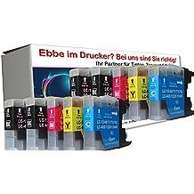 10 cartuchos de impresora compatibles con Brother LC1220 LC1240 LC1280 para Brother MFC 5910 6510 6710 6910 MFC-J5910DW MFC-J6510DW MFC-J6710DW MFC-J6910DW / Brother DCP DCP-J525W 525 725 925 DCP-J725DW DCP-J925DW. 4x negro, 2x azul, 2x rojo, 2x amarillo. Capacidad: 30ml (Negro), 23ml (colores)