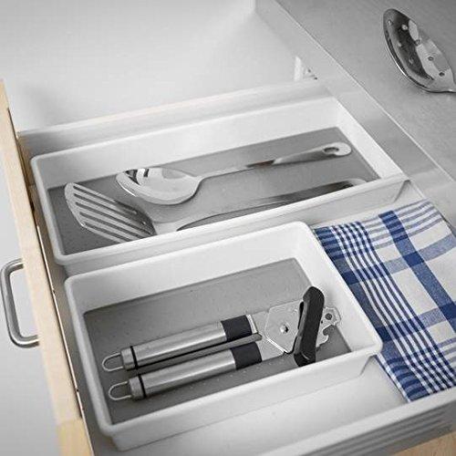 Addis Premium Tidy Drawer Soft Base Storage Boxes, White Grey, Set of 3