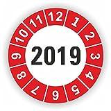 5 - 1.000 Stück Prüfplaketten Prüfetiketten Wartungsetiketten Jahresplakette 2019 Ø 30mm (Rot 10 Stück)