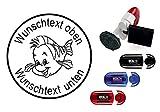 Taucherstempel « comic FISCH » mit persönlichem Namen & Tauchspruch - Abdruckgröße ca. Ø 24 mm