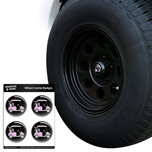 Pink Golf Cart Tire Wheel Center Cap Resin-Topped Badges Stickers - 1.8