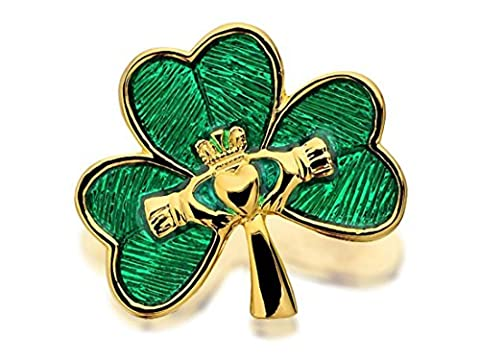 Gold Plated Shamrock And Claddagh Brooch