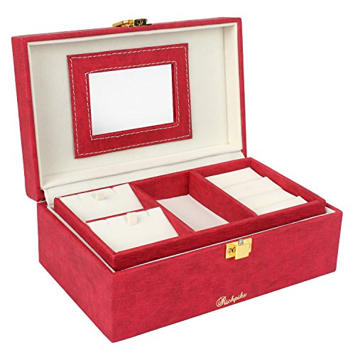 RICHPIKS Plastic Jewellery Accessories Box with Locker, (Red)