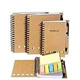Spiralblock liniert retro collegeblock Kraft Tagebuch mit Stift und Notizblock Softcover bürobedarf