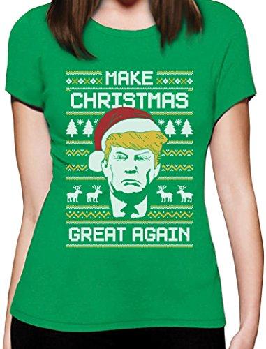 Make Christmas Great Again TRUMP Damen Ugly Christmas Shirt Frauen T-Shirt Grün