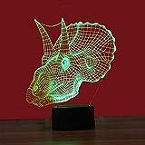 3D Visual Night Light, Effektschauzlampe, Modern Touch Sensitive Switch Lamps for Home Decor for Baby (Dinosaur-Kopf)