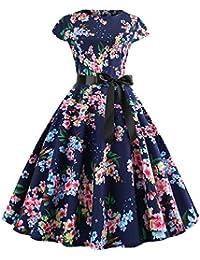 Lenfesh Rockabilly 50s 60s Vestido Corto con Lazo Mini Vestido Floral Estampado Vintage Vestir Vestido Fiesta