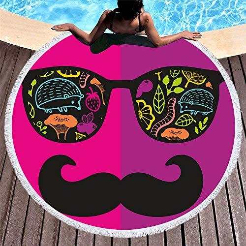 WSKMHK Microfaser Runden Strandtuch,Schnurrbart Sonnenbrille Tier Pflanze Mit Fransen Großes,Bedrucktem Stoff,Böhmische Mandala Indischen Pool Sitzkissen Badetuch Yoga Matte Hippie Psychedelic (Tischdecke Runde Schnurrbart)