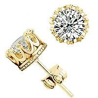 Crown Wedding Stud Earring 925 Sterling Silver CZ Simulated Diamonds Crystal Ear Rings