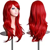 """EmaxDesign Wigs 70 cm / 28"""" ~ High-Quality Cosplay Wig For Women. Long, Full, Curly, Big Wavy, & Heat Resistant. Fashion Glamour Hairpiece with Free Wig Cap & Wig Comb (Color: Red)"""