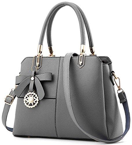 Frauen Mehrfarbenhandtasche Kunstleder Tasche Top Griff Tasche Umhängetasche Zip Top Cross Body Handtaschen(Grau) (Large Zip-handtasche Top)