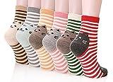 Happytree Damen Socken Einheitsgröße Gr. Einheitsgröße, Stripe Cat 6 Pairs