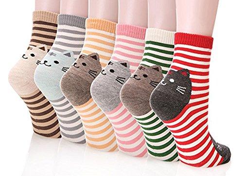 Happytree Damen Crew-Socken 3-6 Stück, lustige coole Katzen, Hunde, Cartoon-Design, gute Geschenkidee, Einheitsgröße Gr. Einheitsgröße, Stripe Cat 6 Pairs -