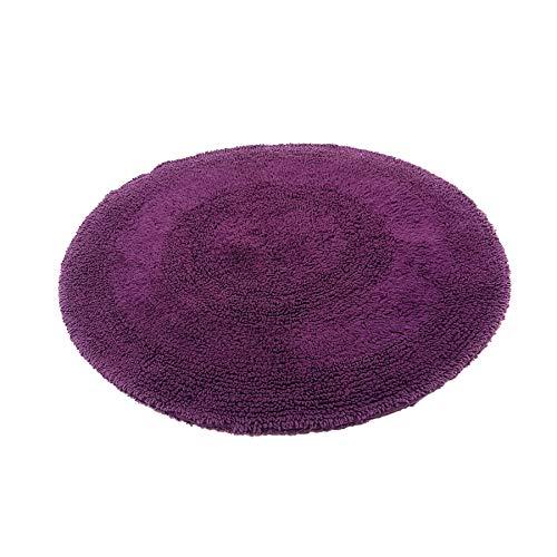 Aubergine Lila Dicker Flor 100% Baumwolle Rund Teppich Matte 60CM ()