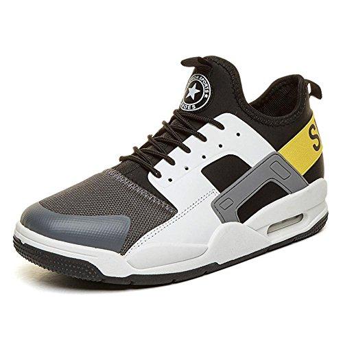 Sneaker Herren Jungen Basketballschuhe Hohe Sneakers Atmungsaktiv Ausbildung Outdoor Freizeit Sport Turnschuhe , Gray , EU43/UK9.5