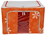 #9: Para Foldable Wardrobe Storage Box Steel Frame Organizer for Shirts Sarees Clothes, Orange