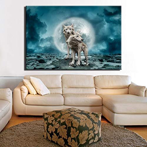 NIMCG Blocco Notte Paesaggio Pittura su Tela Stampa Digitale su Tela Immagine sotto la Pioggia Pittura a Olio Decorazione della Parete di casa Regalo (Senza Cornice) A4 60x90 CM