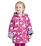 Hatley Girl's Printed Raincoat, Pink (Rainbow Unicorns), 8 Years