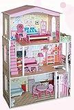 Casa di bambola in legno con mobili e piccolo balcone