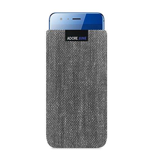 Adore June Business Tasche für Huawei Honor 9 Handytasche aus charakteristischem Fischgrat Stoff - Grau/Schwarz | Schutztasche Zubehör mit Bildschirm Reinigungs-Effekt | Made in Europe