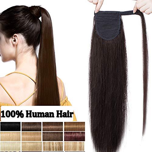 Extension coda capelli veri clip pony tail estensioni coda di cavallo lisci 100% remy human hair umani lunga 14