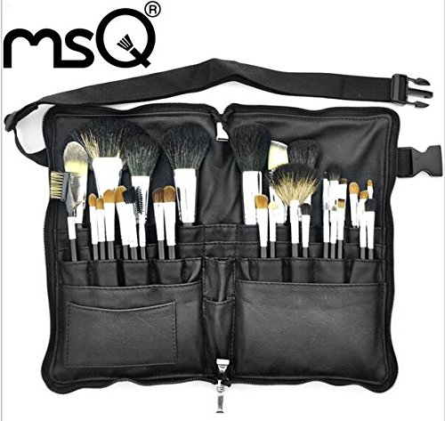 Lot de pinceaux de maquillage PRO 32 pcs de haute qualité souple Poils d'animaux Fond de teint Fard à paupières Maquillage kit de brosse avec étui de ceinture en cuir synthétique