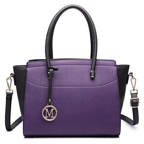 Miss Lulu Damen Klassische Handtasche Winged Schultertasche Groß Umhängetasche Taschen 6627 Lila und Schwarz