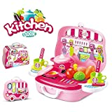 #4: Magnifico™ Kitchen Set Toy for Girls with Wheel Carry Case Suitcase (26 Pink Kitchen) (Kitchen Playset Pink)