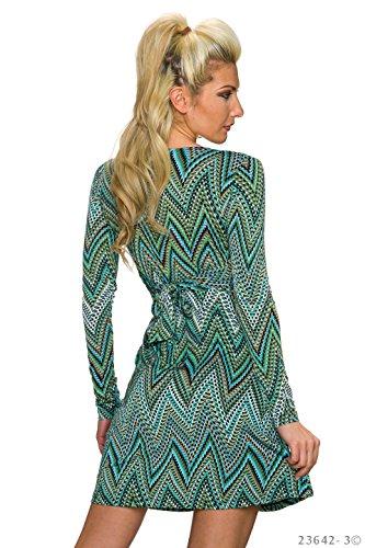 Damen langarm Minikleid Kleid Dress in Wickel-Optik V-Neck 4 Farben 36 38 multicolor/grün