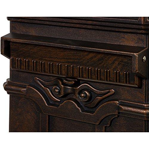 Antiker englischer Standbriefkasten aus rostfreiem Aluminium, Höhe: 102,5 cm, Farbe: Bronze - 8