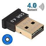 Bluetooth 4.0 USB Adaptateur Mini Clé Dongle Sans Fil CSR avec Vitesse Elevée, Emetteur et Récepteur Compatible pour Windows 10/8.1/8/7/Vista/Xp, Plug and Play on Win 7,PC Musique Stéréo, VOIP, Clavier, Souris, Prise en charge