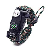 Paracord 550 Armband-Set verstellbar Survival Armband – (SOS LED-Licht, Kompass, Fire Starter, Trillerpfeife, Schaber, Messer) – von xntbx – Beste Wilderness survival-kit für Wandern/Camping, Kinder, Green- Camo