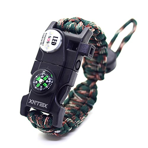 Paracord 550 Armband-Set verstellbar Survival Armband – (SOS LED-Licht, Kompass, Fire Starter, Trillerpfeife, Schaber, Messer) – von xntbx – Beste Wilderness survival-kit für Wandern/Camping, Kinder, Green- - Box Rolex