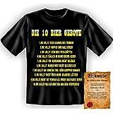 Yeah! Funshirt für Bierfreunde und Trinkfeste (mit Spaßurkunde!) Die 10 Bier Gebote Größe: 3XL Farbe: schwarz