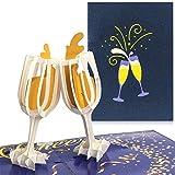 PaperCrush Pop-Up Karte Champagner [NEU] - 3D Glückwunschkarte mit Sektglas für div. Anlässe (Valentinskarte, Geburtstagskarte, Hochzeitskarte) - Handgemachte Valentinstag Geschenkkarte für Frauen