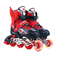 Sljj Inline Skates For Kids, Adjustable Size Children's Roller Skates, Boys And Girls Speed Skating Shoes For Outdoor And Indoor, Red (Color : Red-A, Size : M(33-37))