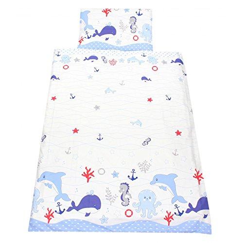 TupTam Kinderbettwäsche Set Gemustert 2 teilig, Farbe: Ozean Blau, Größe: 135x100 cm