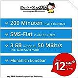 DeutschlandSIM LTE Mini SMS 3 GB - monatlich kündbar (3 GB LTE mit max. 50 MBit/s + Datenautomatik, 200 Minuten, SMS-Flat, EU-Ausland inklusive, 12,99 Euro/Monat)
