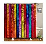Epinki Polyester Duschvorhang Farbe Holzbrett Muster Bad Vorhang Bunt für Badezimmer 150x180CM