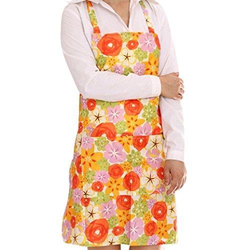 Bodhi2000 Cuisine Femme Motif floral Tablier Maison Tablier de cuisine Bavoir, PVC, Orange, Taille unique