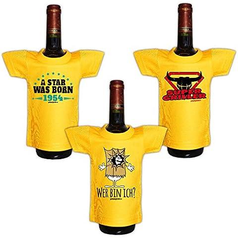 Mini Set 3pequeños en el paquete::: 1954–Griller–Sprüche::: Camisa para la botella de Sylvester