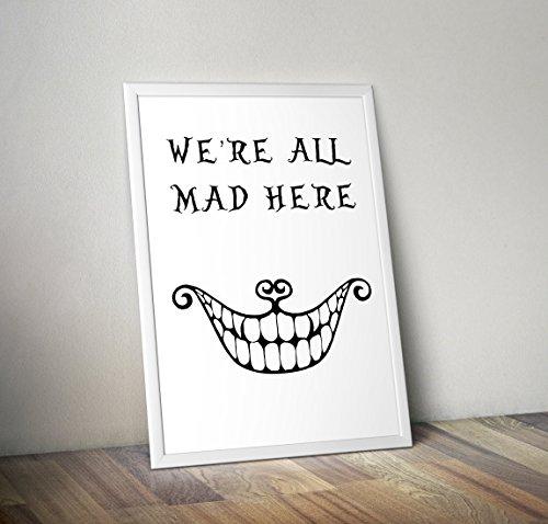 Alice im Wunderland Poster Typografie drucken - Mad Hatter Poster - Alternative TV/Movie Prints in verschiedenen Größen (Rahmen nicht im Lieferumfang enthalten)