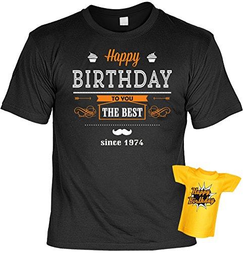 Geburtstags-Fun-Shirt-Set inkl. Mini-Shirt/Flaschendeko: Happy Birthday the Best since 1974 - geniales Geschenk Schwarz