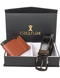 Creature Combo Of Tan Colour Wallet For Men & Black-Brown Shiny Reversible Belt For Men(BL-014 WL-020)