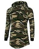 Herren Kapuzenpullover Long Hoodie Lange Ärmel T-Shirt mit Kapuze Camo S