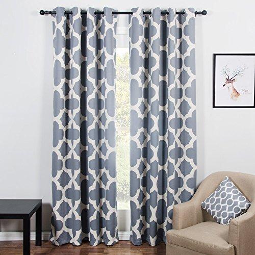 Top finel quatrefoil tende oscuranti con occhielli tenda per finestre trattamenti pannelli, per salotto, stanza di anelli, per letto singolo, 2 pezzi,140x215cm, colore: grigio
