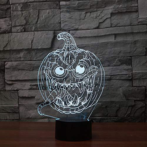 kssimHalloween Kürbis Geist Styling 3D Nachtlichter LED Optical Slides 7 Farbwechsel Tischlampen für Kinder Geburtstag Weihnachten Gifts_t12
